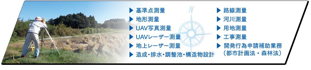 基準点測量、地形測量、UAV写真測量、UAVレーザー測量、地上レーザー測量、路線測量、河川測量、用地測量、工事測量
